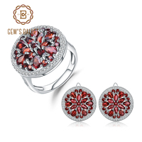 GEM'S BALLET 11.65Ct Natural Red Garnet Gemstone Earrings Ring Set 925 Sterling Silver Round Jewelry Set For Women Wedding