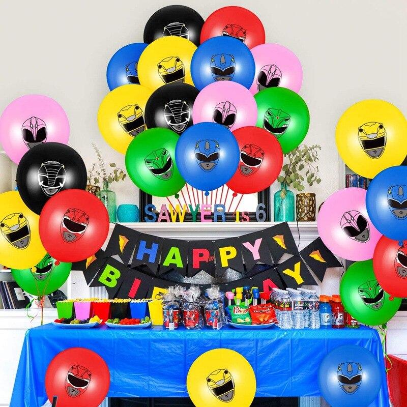 12 pçs/lote herói festa balão aniversário meninos jogo crianças festa decoração mascarada ninja power rangers balões cumpleanos crianças
