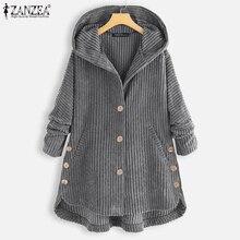 Jackets Outwear Coats ZANZEA Women Spring Plus-Size Hoodies Long-Sleeve Corduroy Casual