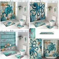 2019 NEW 4Pcs Sea Style Non Slip Toilet mat Shower Curtain Rugs Mat Set Home Bathroom Product