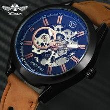 勝者公式高級ブランドマン腕時計自動機械式スポーツウォッチスケルトンヌバック革ストラップファッションドレス腕時計