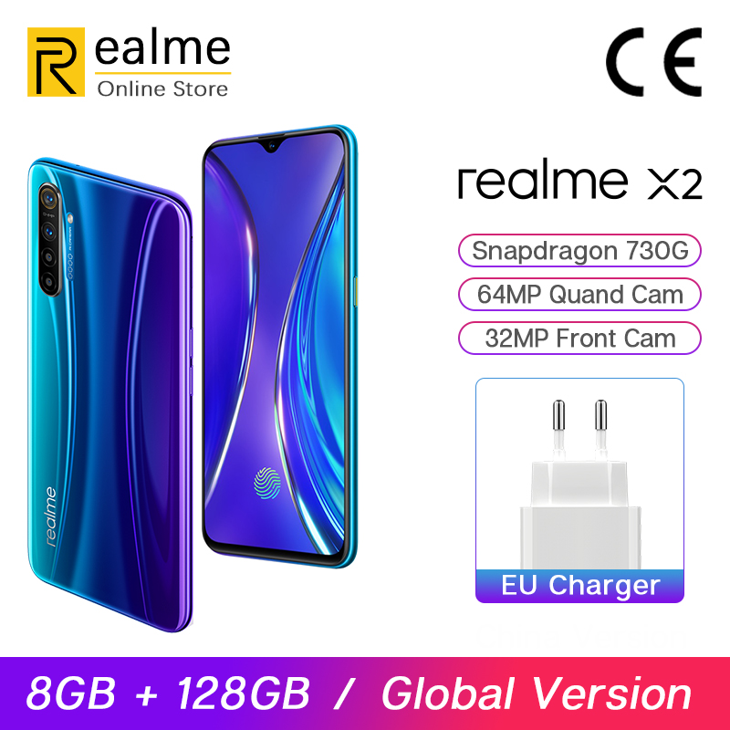 Global Version Realme X2 X 2 8GB 128GB Snapdragon 730G Smartphone Octa Core 64MP Quad Cams 6.4'' NFC Cellphone 30W VOOC