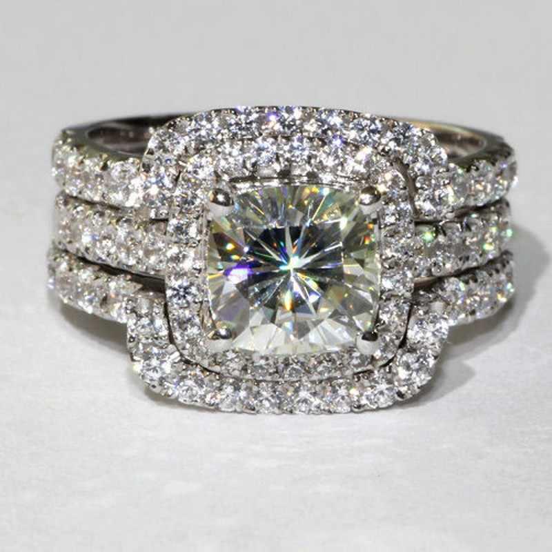 Mewah Emas Putih 10K 3ct Lab Berlian Set 3-In-1 Cincin Pernikahan Pertunangan untuk wanita Pria Laporan Pesta Hadiah Perhiasan