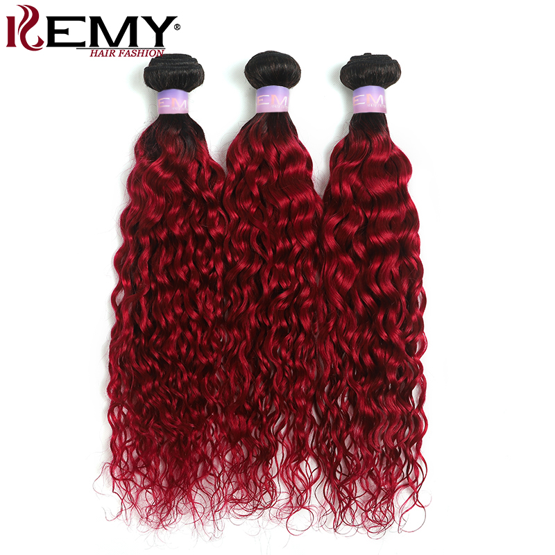 1B/99J Burgundy Brazilian Water Wave Human Hair Bundles Two Tone Ombre Red Color Hair Extension 3/4 PCS Non-Remy Hair KEMY HAIR