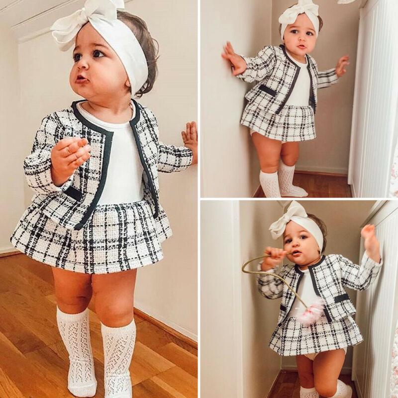 2Pcs Outono Inverno Casaco Xadrez Moda Pageant Do Partido Dos Miúdos Roupas Para Bebê Menina Tutu Vestido Roupas Terno Da Menina Da Criança conjunto de roupas