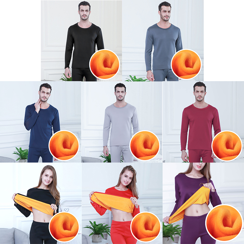 Fleece Keep Warm Plus Size Tops + Pants Clothes Thermal Underwear Men Winter Women Long Johns Sets