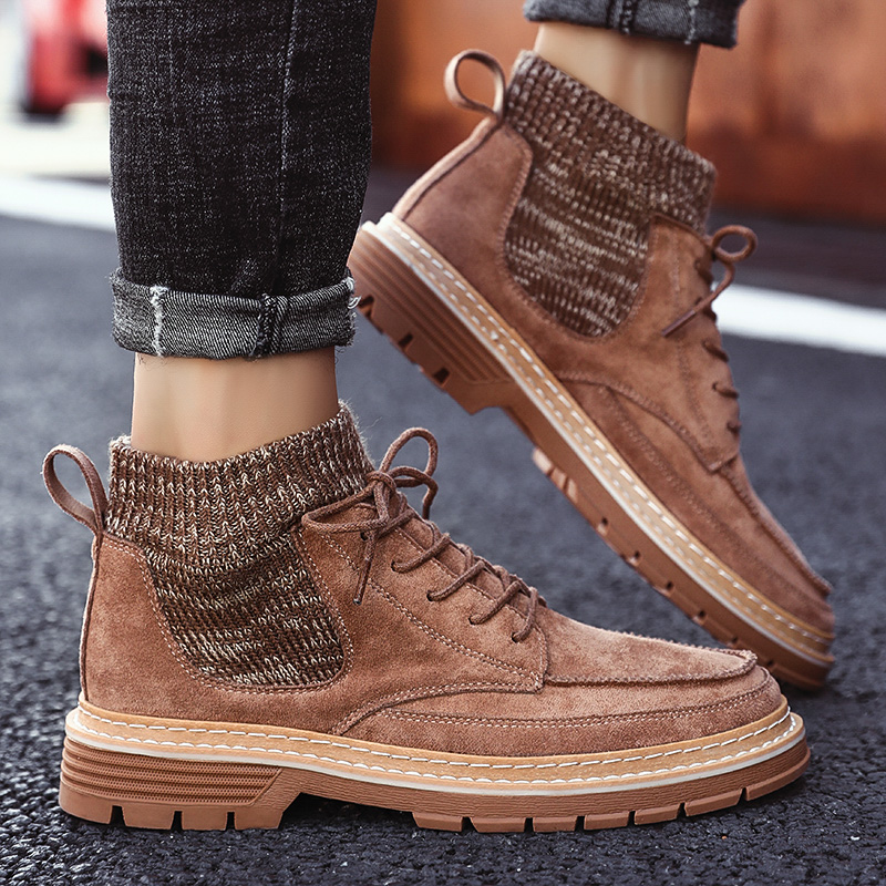 2019 Autumn New Men Boots High Quality Flannel Men Winter Boots High-top Fashion Men Winter Shoes Work Boots
