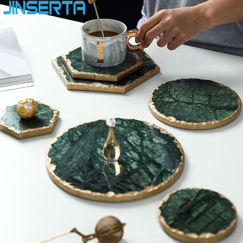 JINSERTA Marble Storage Tray Green Jewelry Display Plate Necklace Ring Earrings Cosmetic Organizer Desktop Sundries Decor Tray