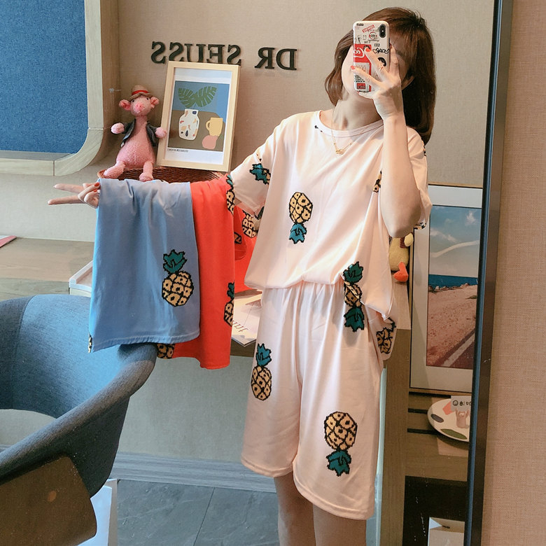 Summer Pajamas WOMEN'S Short Sleeved Set Fen Bo Luo M -Xxl 2020 New Style Home-feeding Filming