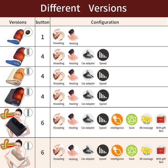 Jinkairui Massage Pillow Shiatsu Heating Shoulder Back Body Multi Function Device Cervical Healthy for Home and Car 5