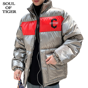 Image 1 - SOUL OF TIGER New 2019 Korean Fashion Men Vintage Thicken Parka Male Casual Winter Jackets Loose Warm Coat Cotton Padded Clothes