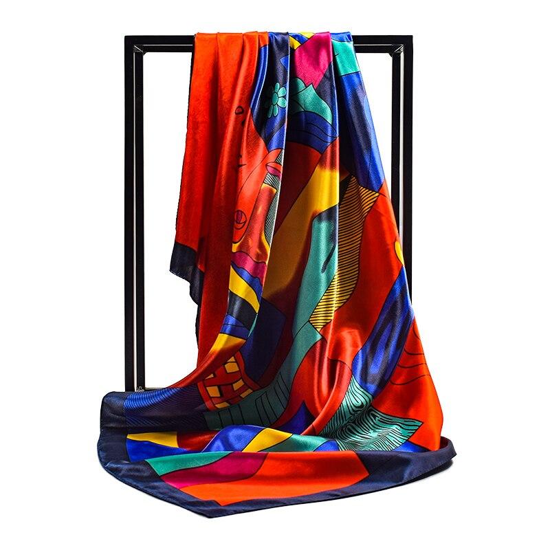 Fashion Scarves For Women Colors Print Satin Silk Scarf Female 90cm Square Shawl Bandana For Head Large Hijab Scarfs For Ladies
