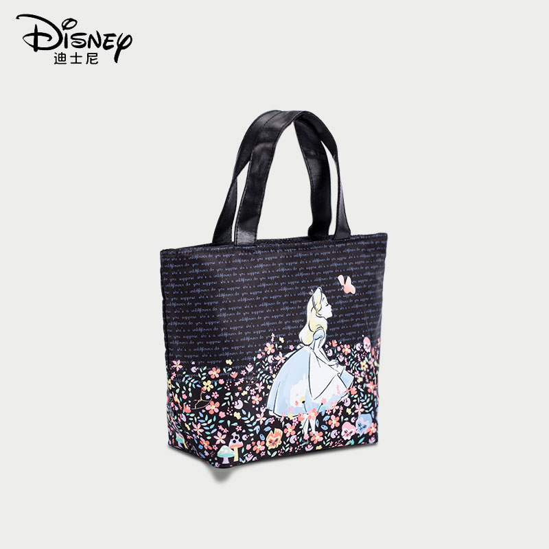 Disney Cute Lunch Box Bag Alice Large-capacity Meal Bag With Rice Bag Women's Kid's Portable Handbag Insulation Bag Travel Bag