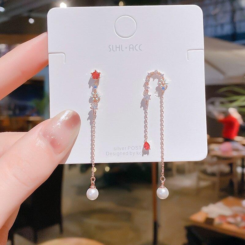 2020 Южная Корея новые асимметричные серьги с цветами и бахромой модные темпераментные длинные серьги элегантные милые женские ювелирные из...