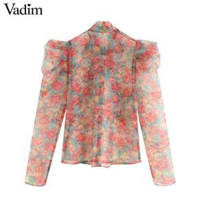 Image 2 - Vadim mujer sexy floral organza blusa transparente estilo lazo collar de manga larga Mujer ver a través de blusas chic LB311