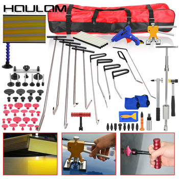 PDR tools Paintless Dent Repair push rod hooks LED lamp Car Hail Puller Lifter Removal Rod Tab Hammer Tool Kit pdr glue