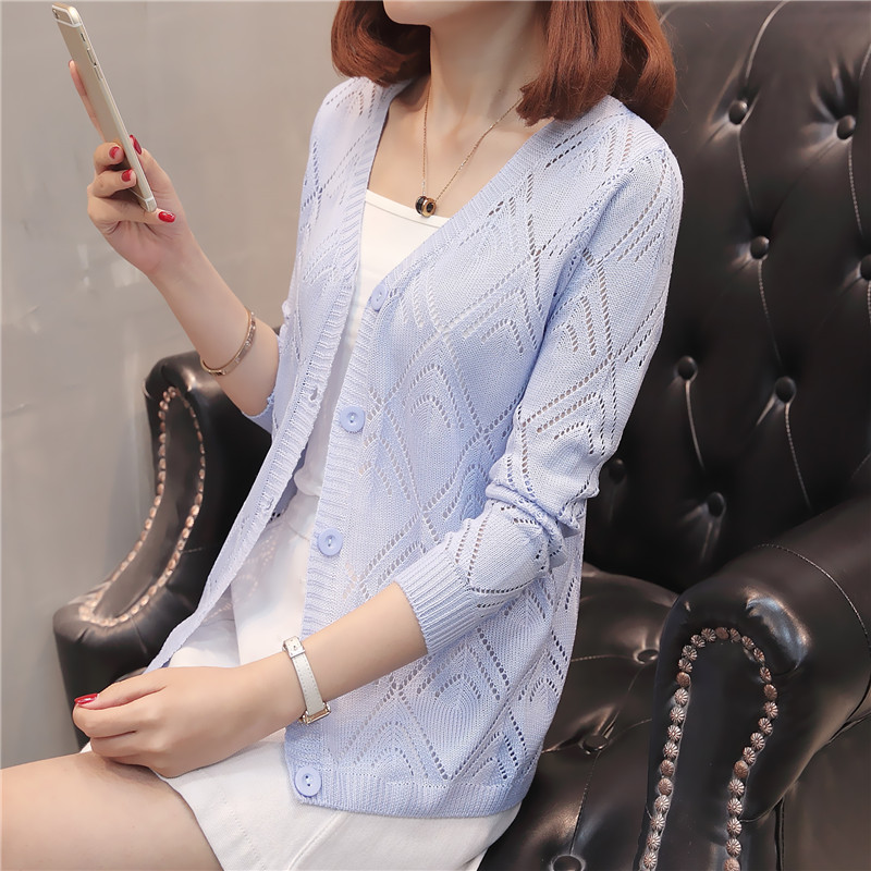 Summer short slim hollow thin T-shirt long sleeve single breasted cardigan V-neck women's top shawl versatile coat