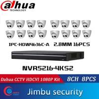 Dahua IP NVR sistemi NVR5216-4KS2 16CH 4K ve H.265 video kaydedici ve IP kamera 6MP h.265 IPC-HDW4636C-A 16 adet dahili MIC IR50m IP67