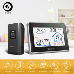 Digoo DG-TH8380 Wireless Thermometer Hygrometer Touchscreen Wetter Station Thermometer Außen Prognose Sensor Uhr