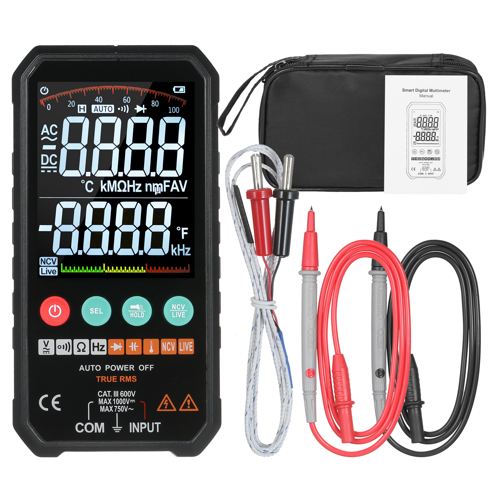 FY107C/FY107B 6000counts Digital Multimeter Ture RMS AC DC NCV Transistor Capacitor Temperature