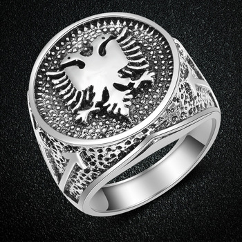 CHENGXUN European Albania Flag Logo Ring Double Headed Eagle Ring Men Jewelry Ancient Silver Vintage Ring Party Birthday Gift