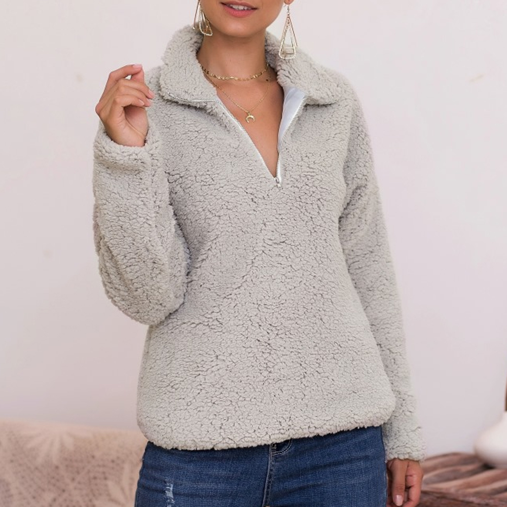 HOT Autumn Women's Fleece Long Sleeve Lamb Wool Sweater Zipper Jumper Pullover Cropped Tops Ladies Thick Loose Clothes