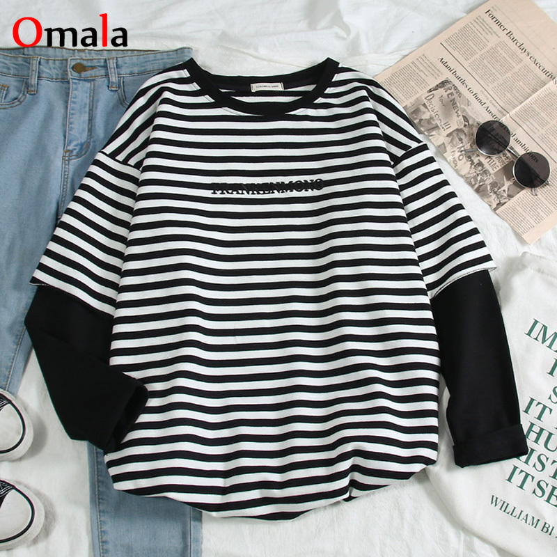 Korean Women T-shirts Letters Stripe Patchwork Tops O-Neck All-match Students Tee Shirt Autumn Fashion Large Size Casual T Shirt