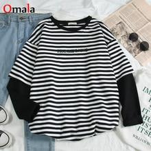 Camisetas coreanas para mujer, camisetas de retales a rayas con letras y cuello redondo, camiseta de estudiantes que combina con todo, camiseta informal a la moda de otoño de gran tamaño
