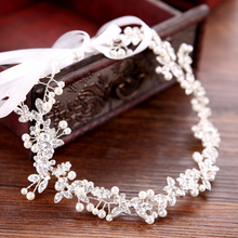 Trendy Silver Color Handmade Pearl Crystal Wedding Headband tiara Bridal Headpieec Women Hair Jewelry Wedding Hair Accessories trendy bridal tiara handmade silver color rhinestone crystal headband wedding hair accessories princess tiara hair jewellery