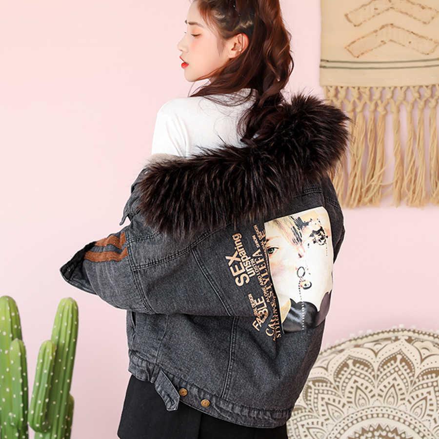 Drukuj bawełniana podszewka futrzana kołnierz zimowa kurtka dżinsowa kobiety Streetwear ciepły luźny dżins płaszcze kurtki kobieta Plus rozmiar Parka znosić