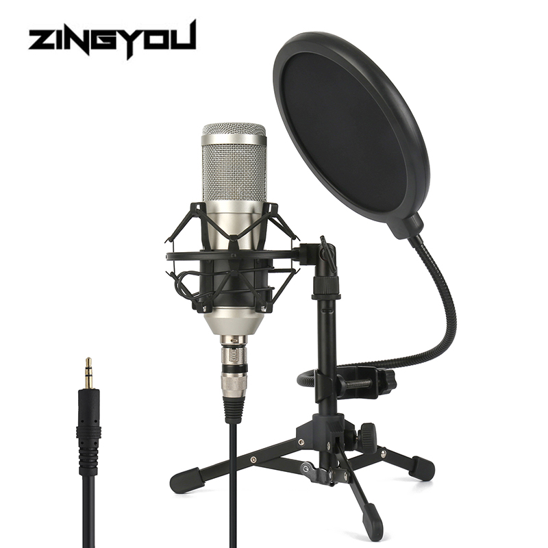 Condenser Microphone For Computer Vocal Recording Podcaster Mic Tripod Stand For PC 3.5mm Wired Professional Studio Microphone