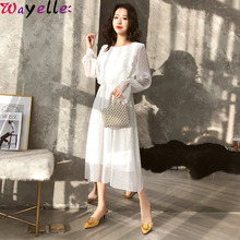 цены на Ruffles Polka Dot Women Chiffon Dress 2019 New  Elastic Waist Long Sleeve A-line White Autumn Vintage Elegant Female Long Dress в интернет-магазинах