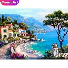 MomoArt Diamond Painting Landscape DIY Mosaic Seaside Handmade Cross Stitch Kits Embroidery Rhinestones