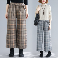 Autumn 2019 Brief Casual Palazzo Pants Bow Korean High Waist Pants Plaid Fashion Loose Vintage Ankle length Pants