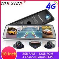 WHEXUNE ADAS 4 Channel Car DVR Camera Video Recorder Mirror 4G 10 Media Rearview Mirror 4 Core Android 5.1 Dash Cam FHD 1080P