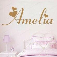 Creative Love Heart Custom Name Vinyl Wall Sticker girls room wall decal personalized bedroom art decor JH231