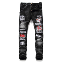 Skinny Jeans Men Black Printing Embroidery Jean Homme Ripped Spijkerbroeken Heren Biker Stretch Pants Slim Fit Men'S Fashion