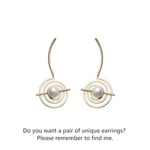 S925 silver needle pearl earrings simple metal universe exaggerated temperament star track personality