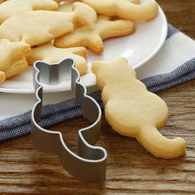 8cm*3.8cm Lovely Cute Cat Shaped SS Mold Cake Cookies Pastry Baking Cutter Mould 2019 New Stainless Steel Biscuit Cutters