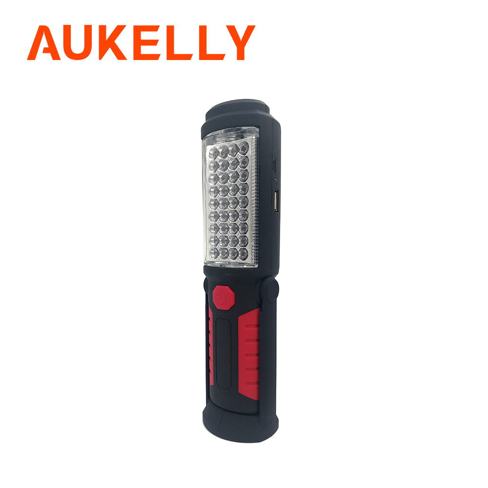 Aukelly USB Rechargeable Work Light Stand Portable LED Flashlight Torch Lantern Outdoor 36+5LED Working Lamp With Magnet Hook