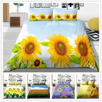 3D Print Cartoon Comforter Bedding Sets Comforter Cover Warm Sun Flowers Simple Style Single King Size of Bedding Cover Suit
