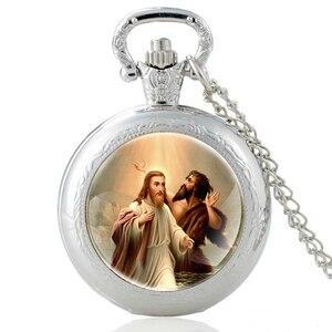 Único joão batista baptizes jesus cristo prata relógio de bolso de quartzo do vintage pingente relógio de pulso masculino feminino colar presentes
