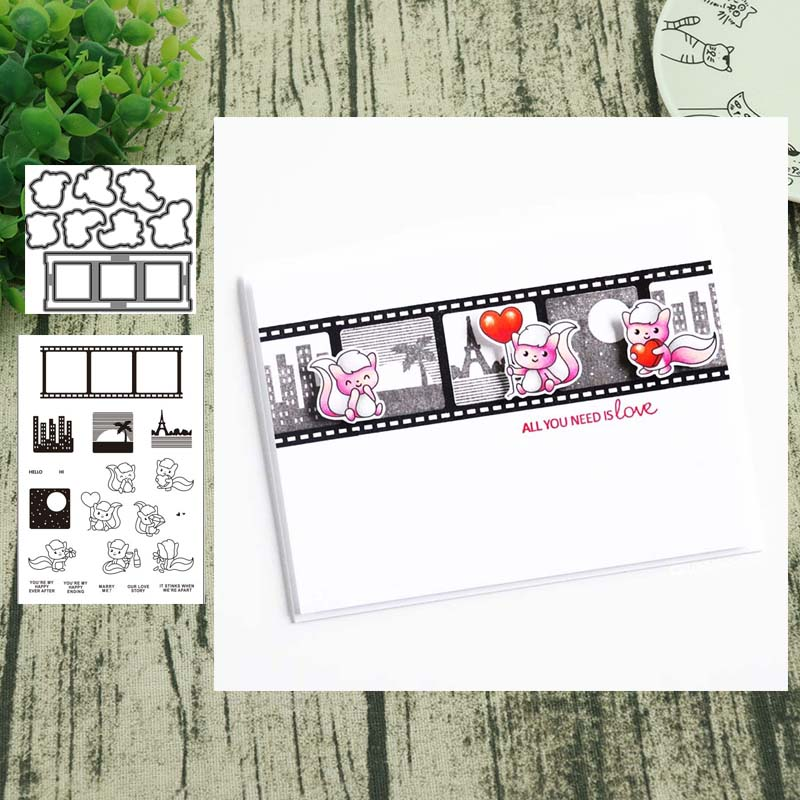 Love Story Metal Cutting Dies And Clear Stamps Transparent Silicone Seal For DIY Scrapbooking Photo Album Decorative