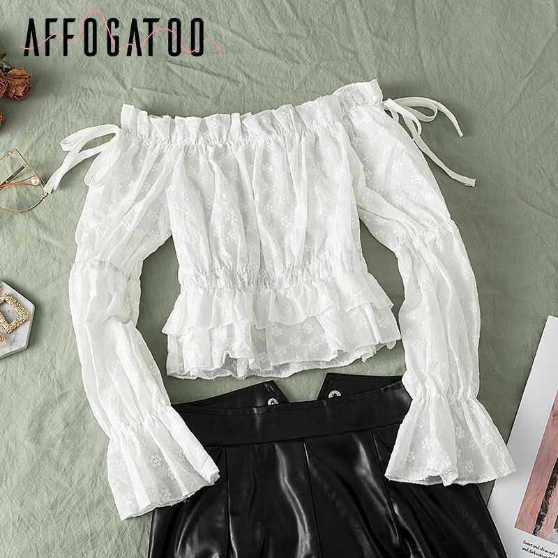 Afogatoo элегантная женская белая Повседневная Блузка с оборками и вырезом лодочкой, женская рубашка с буфами на рукавах, шифоновая блузка