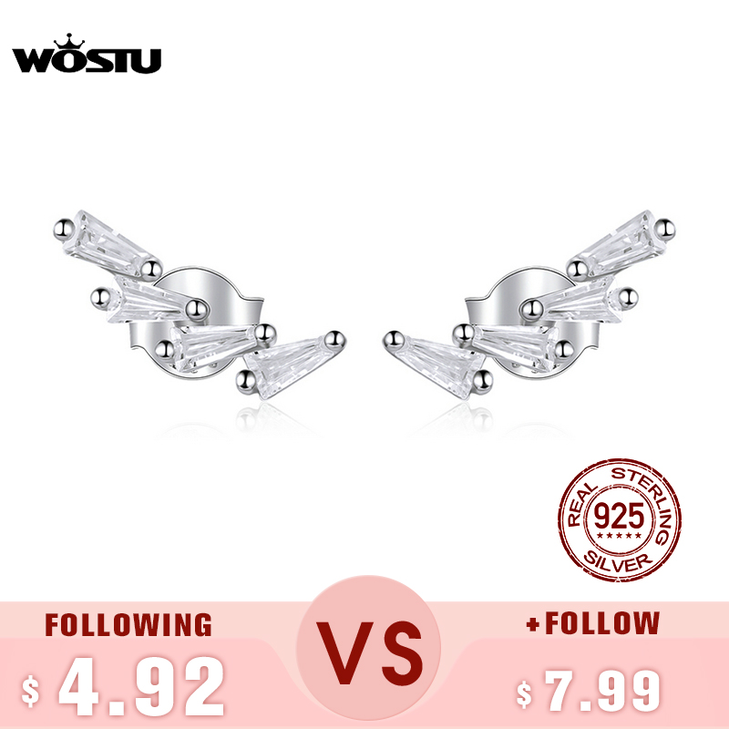 WOSTU Geometry Stud Earrings Real 925 Sterling Silver Dazzling Zircon Shiny Earrings For Women Fashion Simple Jewelry CTE426