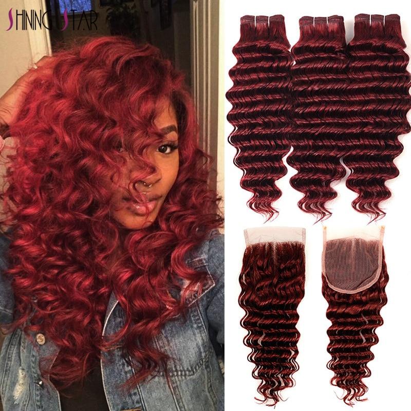 Vermelho 99j profundo ondas 3 pacotes com fechamento de cabelo brasileiro cortado vermelho 99j borgonha fechamento brilhante estrela remy pacote de cabelo