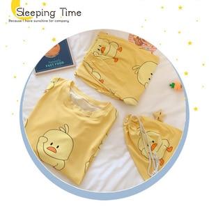 Image 5 - Winter Women Cute Flannel Pajamas Set Cartoon Little Yellow Duck O Neck Sleepwear Thickened Warm Cotton Pyjamas Home Clothing