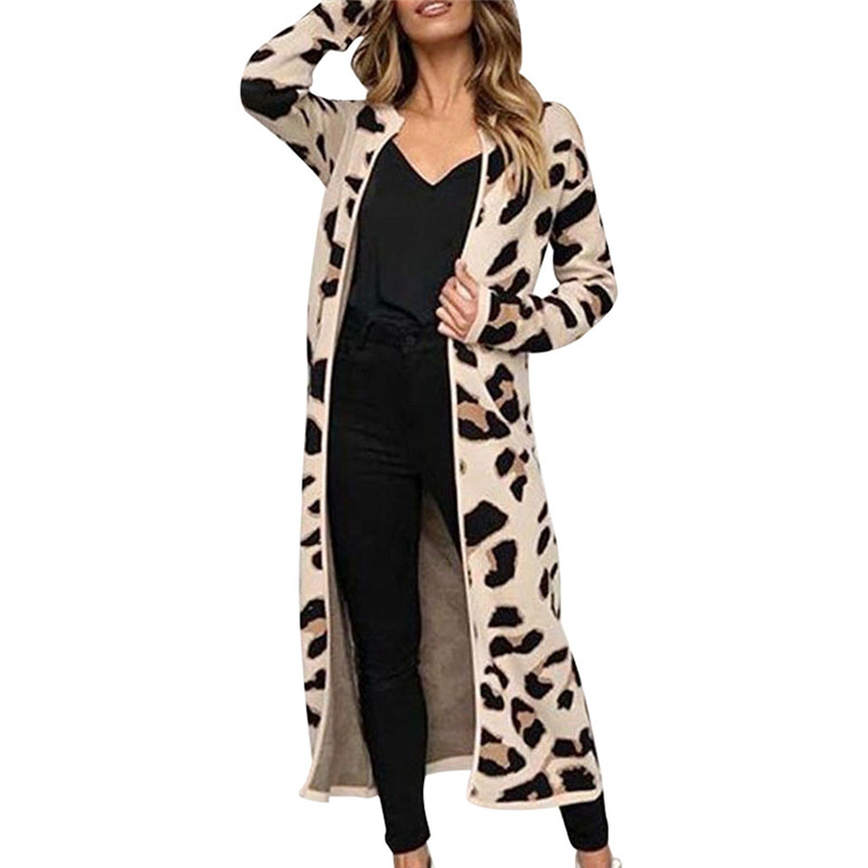 Feminine CoatWomen Long Sleeve Leopard Print Long Sleeve Cardigan Open Front Jacket Coat Sweater Women's Sweater