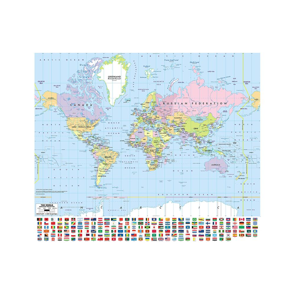 Mercator Projection 90x90cm World Map Non-woven Inkjet Hd World Map With National Flag