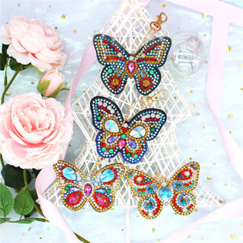 HUACAN Diamond Embroidery Keychain Diamond Painting Cross Stitch Bag Keyring Diamond Painting Accessories Craft